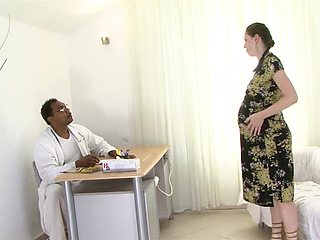 Heavily pregnant brunette fucked by a black man
