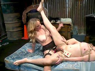 Blonde kicking balls to man slave