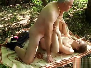 Naughty Teen Ass Spanking by Grandpa And Kissing and Fucked