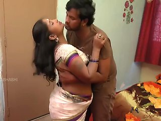 Telugu aunty boobs pressing romance with ac mechanic