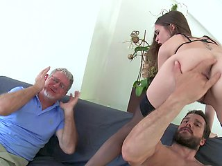 Old husband is watching while his brunette wife gets rammed hard