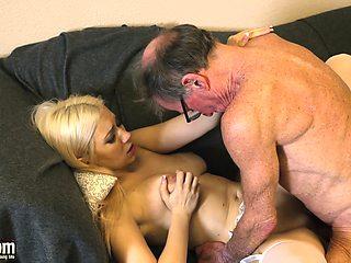 70 year old man fucks 18yearold girl she swallows cum