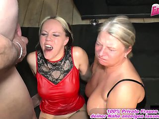 german hardcore creampie and cum swapping gangbanb party